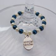 Special Teacher Wine Glass Charm - Full Bead Style